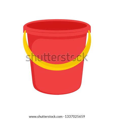 Red plastic bucket with a yellow handle. Isolated white background. A bucketful for washing food, water and drink. Household chores pail. Vector illustration. EPS 10. ストックフォト ©