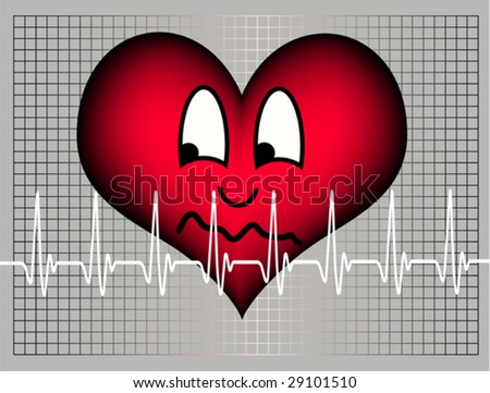 red plastic heart on a grey background with a grid and a white cardiogram line is looking afraid