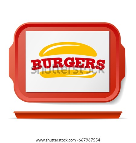 Red Plastic Tray Salver Vector