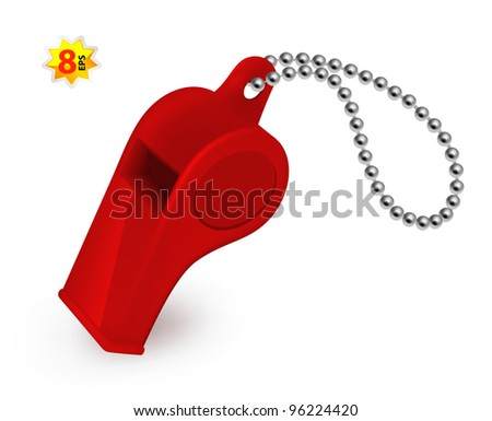 Red plastic whistle. Mesh and gradients only design.