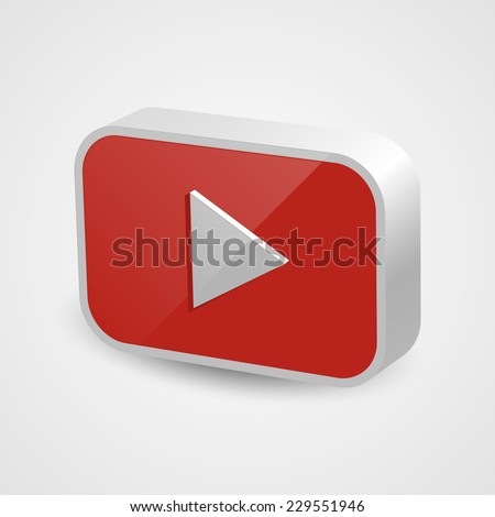 Red play button. Isolated on white background. Vector illustration, eps 10.