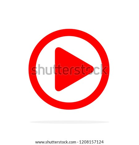 Red Play icon in flat style. Vector illustration. Play button icon, isolated