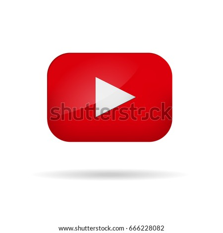 Red play video button vector illustration tube