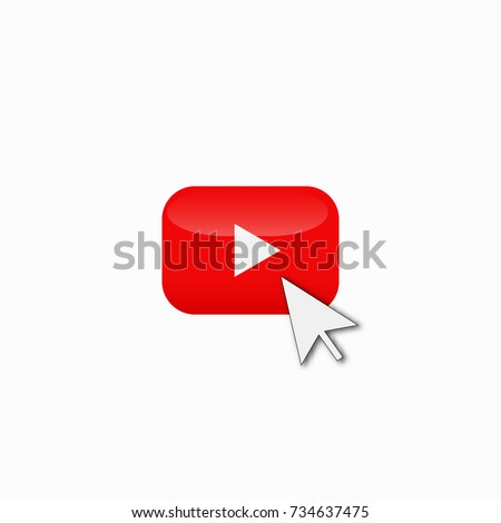 red play youtube logo button vector icon and mouse cursor