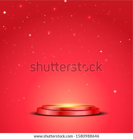 Red podium chrismas with a spotlight and bokeh on a red background, the first place, fame and popularity. Vector illustration.