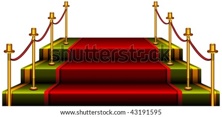 Red podium isolated on white background, vector illustration.