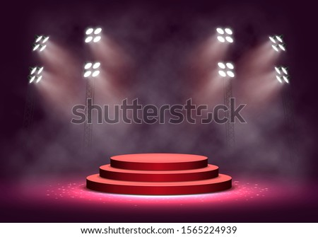 Red podium with smoke illuminated by spotlights. Empty pedestal for award ceremony. Vector illustration.