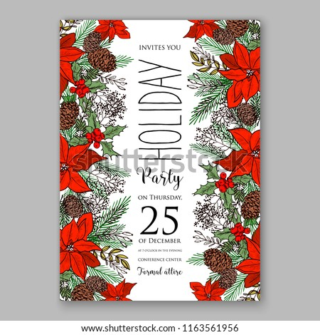 Red Poinsettia Christmas party invitation flyer winter floral vector background bridal shower baby shower christening baptism birthday card anniversary poinsettia winter holiday wreath