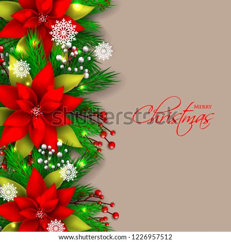 Red Poinsettia Christmas party invitation vector template greeting card with pine and fir branches red berry wreath in the snowflake, lights, brown chocolate background #1226957512