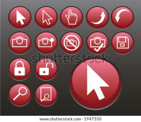 red pointers and icons (4 of 5) - stock vector