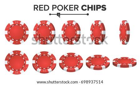 red poker chips vector 3d