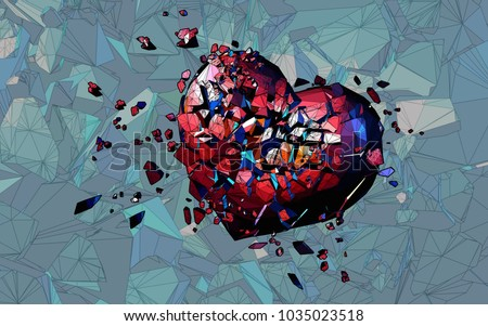 red polygonal broken heart on