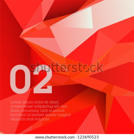 Red polygonal design abstract form suitable for infographics book cover or web banner