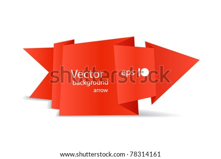 red polygonal origami arrow