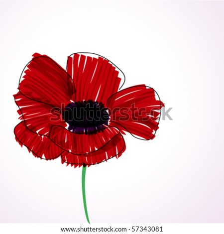 poppy wallpaper. stock vector : red poppy