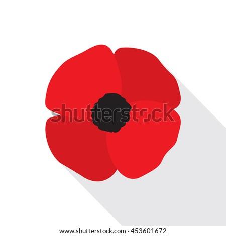 red poppy flat icon stylized