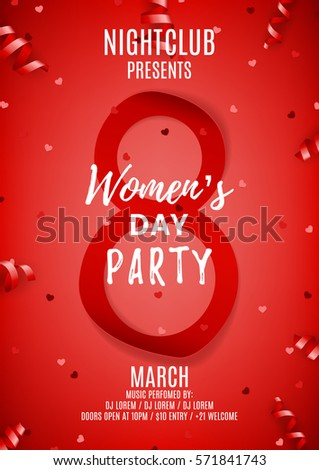 Red poster for Women's Day party. Top view on paper eight, confetti and serpentine. Vector illustration. Invitation to nightclub. #571841743
