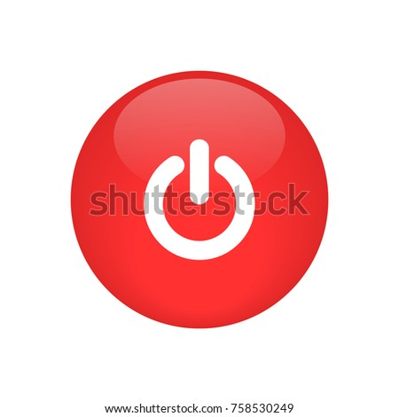 red power button glossy icon vector