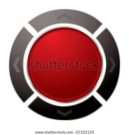 Red power button with black surround with arrow and white background