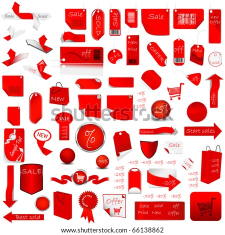 Red Price Tag Set. Vector Illustration
