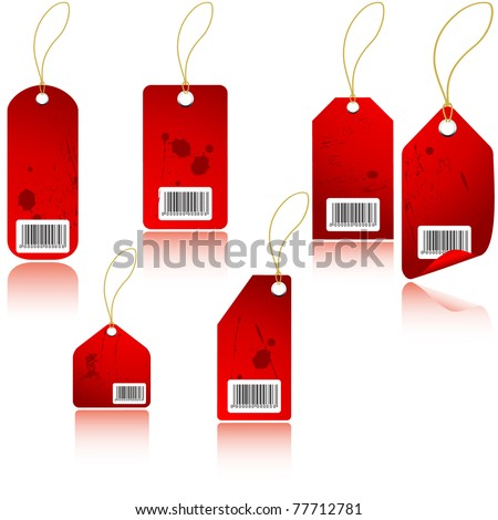 Red price tag. Vector
