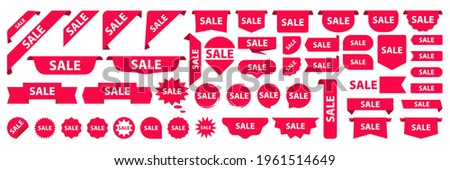 Red price tags collection. Special offer or shopping discount label. Sticker, ribbon and tags. Modern promotional sale badges. Set of shop product tags, label or sale, sticker for new collections