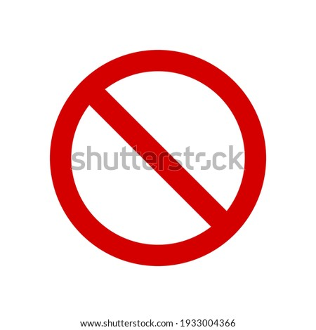 red prohibition sign on white plate isolated on white background. vector illustration