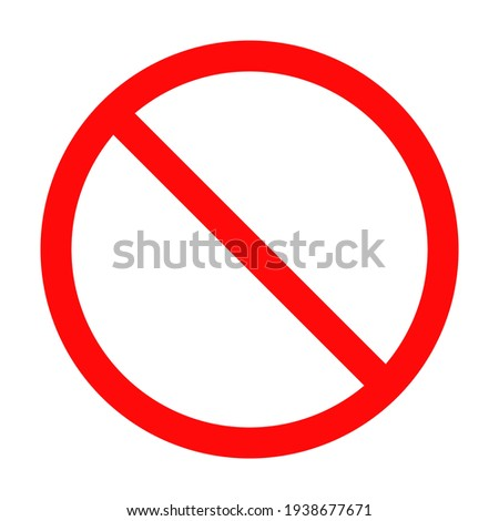 red prohibition sign on white plate isolated on white background. vector illustration Foto stock ©
