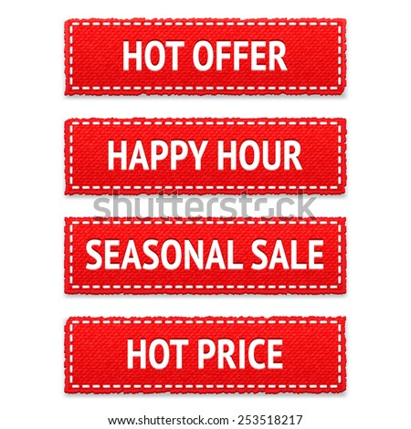 Red promotion realistic textile vector tags; seasonal sale, happy hour, hot offer and hot price signs; bright design elements set