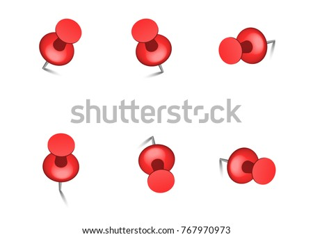 Red push office pin vector realistic office attach button. Push pin Thumbtack Top view. 3d push pin