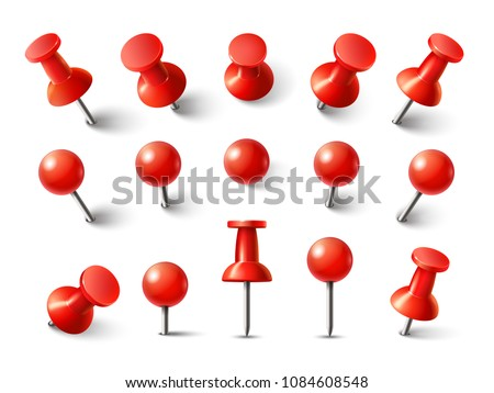 Red pushpin top view. Thumbtack for note attach collection. Realistic 3d push pins pinned in different angles isolated on white. Vector set