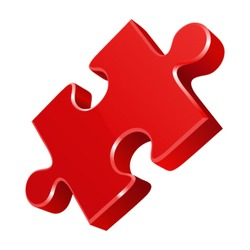 Red puzzle 3d pie vector icon. Eps 10.