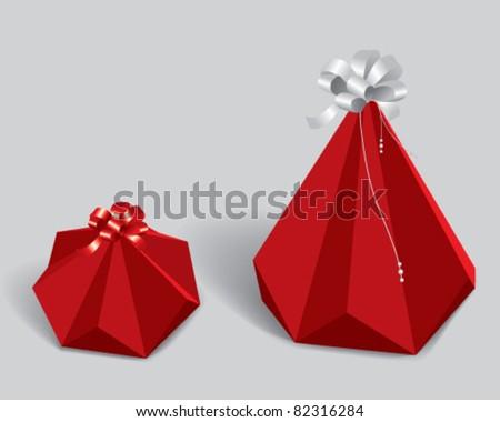 red pyramided gift box