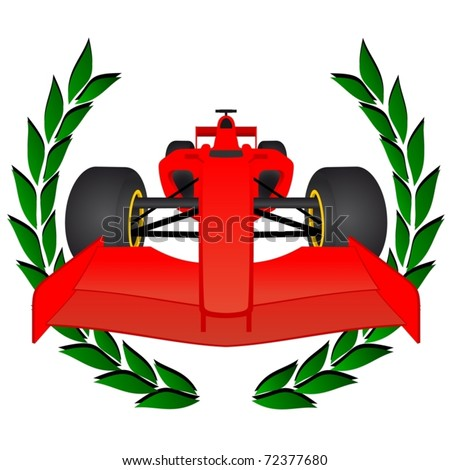 red racing car with a laurel