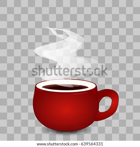 Red realistic steaming coffee cup with white vapour effect and shadow isolated on transparent checkerboard background, ceramic 3d coffee mug with smoke clip art, detailed vector artwork
