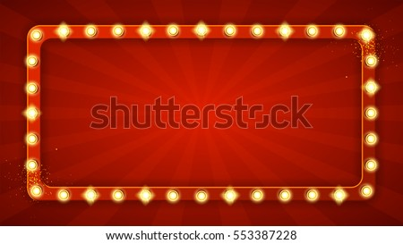 Red rectangular retro frame with glowing lamps. Vector illustration with shining lights in vintage style. Label for winners of poker, cards, roulette and lottery. Stockfoto ©