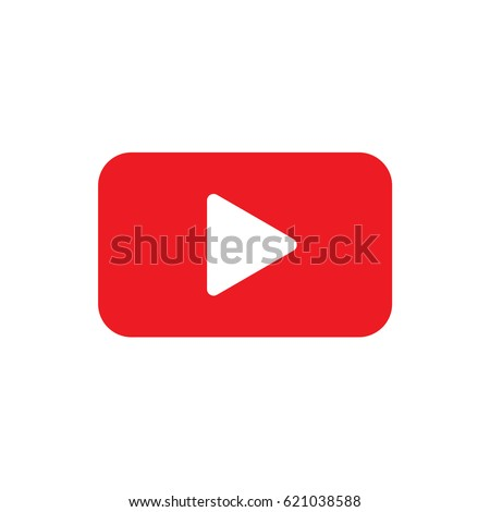 Red Rectangular vector play button icon with rounded edges