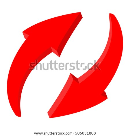 Red recycle arrows. Web 3d icon. Vector illustration isolated on white background