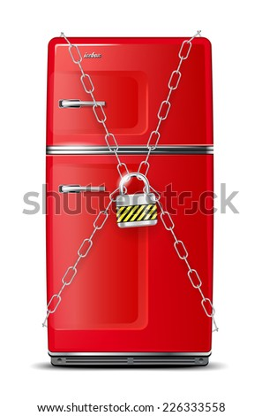 red refrigerator wrapped in