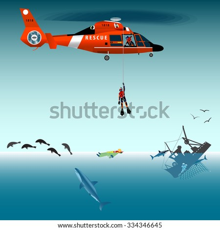 red rescue helicopter and