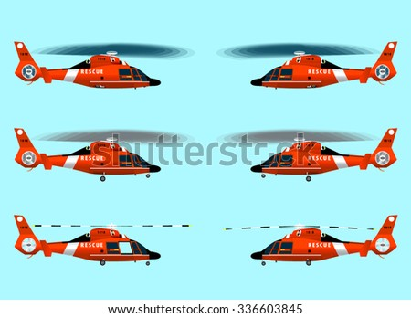red rescue helicopter flying