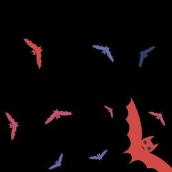 Red Retro Attack Purple Wallpaper. Scary Sky Eyes Night Colorful Bats Vector Background. Creepy Pink Motion Chaos Halloween Art Illustration. Spooky Black Gothic Print Art Flying Bats Fabrics.