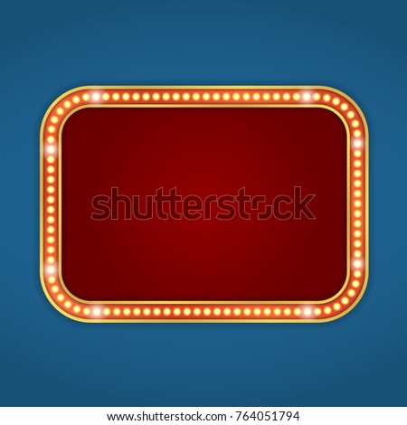 red retro banner with lights
