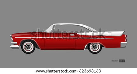 red retro car on gray...