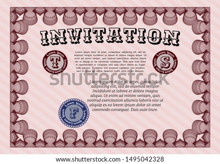 Red Retro invitation template. Customizable, Easy to edit and change colors. With complex background. Excellent design.