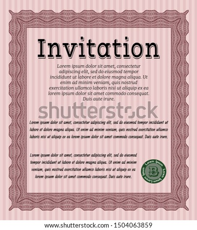 Red Retro invitation template. Customizable, Easy to edit and change colors. With guilloche pattern and background. Good design.