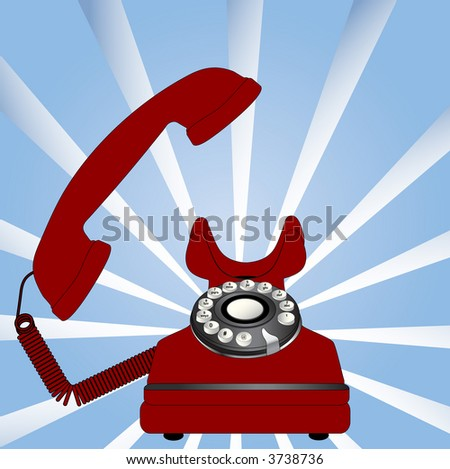 red retro phone off hook   has