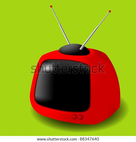 Red Retro tv on green background