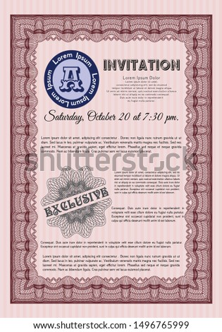 Red Retro vintage invitation. With great quality guilloche pattern. Excellent design. Customizable, Easy to edit and change colors.