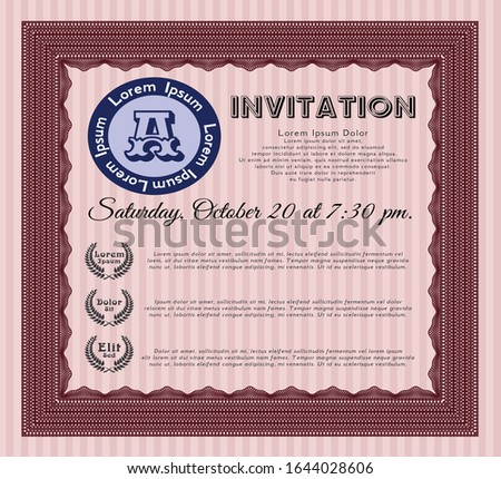 Red Retro vintage invitation. With guilloche pattern. Customizable, Easy to edit and change colors. Excellent design.